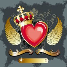Free Heart With Wings And Gold Ribbon Stock Photos - 18383453