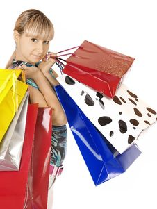 Free Girl With Shopping Bags Royalty Free Stock Image - 18383536