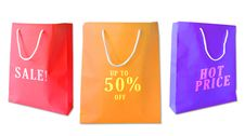 Free Sale Shopping Bags Isolated Royalty Free Stock Photography - 18383617