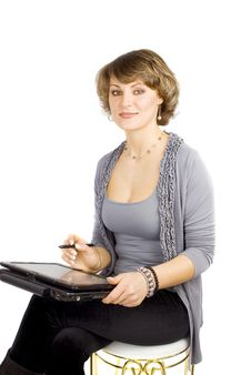 Free Designer Woman With Laptop. Royalty Free Stock Photography - 18383687