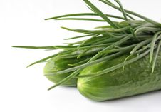 Free A Bunch Of Green Onions And Cucumbers Stock Images - 18383784