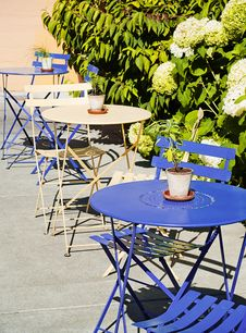 Free Blue And Cream Cafe Tables Outdoors Stock Images - 18384014