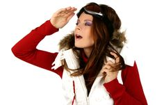 Free Portrait Of A Happy Young Girl Snowboarding Stock Photos - 18385023