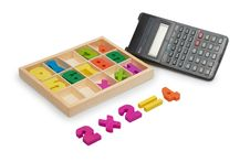 Free Wooden Numbers With A Calculator Stock Images - 18385054
