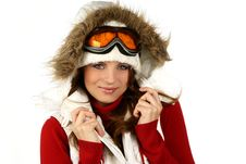 Free Portrait Of A Happy Young Girl Snowboarding Stock Photos - 18385153