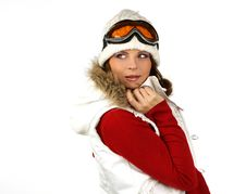 Free Portrait Of A Happy Young Girl Snowboarding Royalty Free Stock Image - 18385256