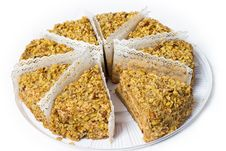Free Eight Piece Of Cake With Walnuts. Royalty Free Stock Images - 18385549