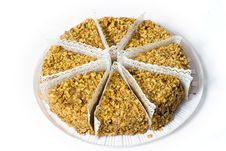 Free Eight Piece Of Cake With Walnuts. Royalty Free Stock Photo - 18385715