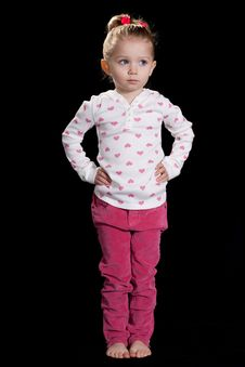 Free Cute Young Girl With Black Background Stock Images - 18388314