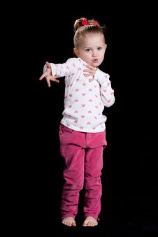 Free Cute Young Girl With Black Background Royalty Free Stock Image - 18388316