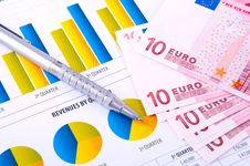 Free Financial Analysis  With Charts. European Currency Royalty Free Stock Photos - 18388448