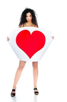 Free Beautiful Young Girl Holding A Heart Royalty Free Stock Photos - 18389568