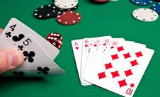 Playing Cards And Chips Stock Photos