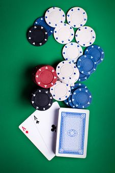 Playing Cards And Chips Royalty Free Stock Photo