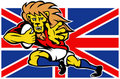 Free Cartoon British Lion Playing Rugby Royalty Free Stock Images - 18391869