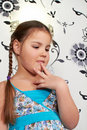 Free A Little Girl In Blue Dress Royalty Free Stock Photography - 18398497