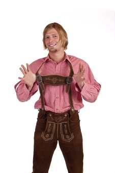 Free Bavarian Man With Oktoberfest Leather Trousers Royalty Free Stock Photos - 18390568