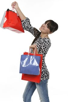 Free Excited Shopping Woman Stock Image - 18390981