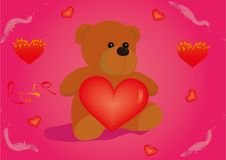 Free Teddy Bear With Heart Stock Images - 18391114