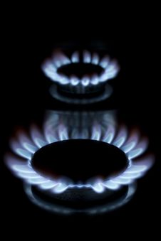Free Two Lit Gas Rings Stock Photography - 18391242