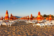 Chairs And Umbrellas On The Beach Royalty Free Stock Image