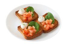 Free Toasts With Mozzarella And Tomato Royalty Free Stock Photo - 18391865