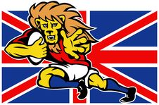 Cartoon British Lion Playing Rugby Royalty Free Stock Images