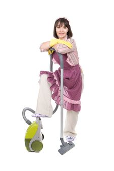 Free Woman With Vacuum Stock Photography - 18391992
