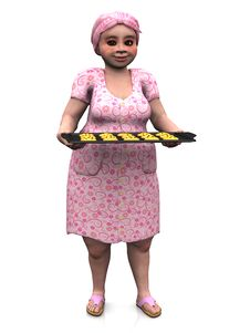 Chubby Lady Holding Baking Tray With Cookies. Stock Photo