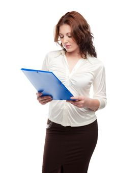 Free Thoughtfully Woman  Reads A Document Royalty Free Stock Photography - 18392717