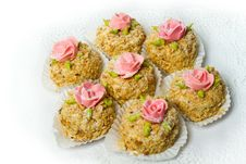 Free Seven Cakes With Nuts, Decorated With Rosettes. Royalty Free Stock Photography - 18392847