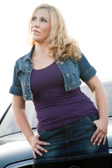 Confident Woman And A Car Stock Images