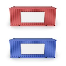 Cargo Containers With The Empty Boards Royalty Free Stock Image