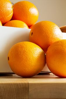 Free Fresh Oranges In A Wooden Box Stock Images - 18393744