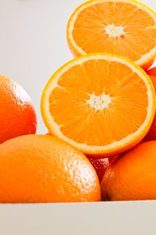 Free Pile Of Fresh Oranges, Sliced Stock Photos - 18393853