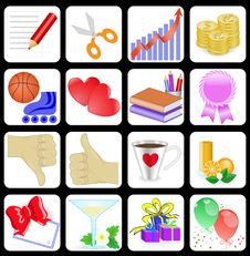 Free Set Of 16 Icons For Web Sites Stock Image - 18394231