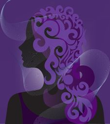 Free Silhouette Of A Woman Under A Veil Royalty Free Stock Image - 18394256