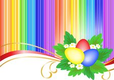 Three Easter Eggs In Bright Stripes Stock Photography