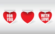 Three Stickers In The Shape Of Hearts Stock Photos