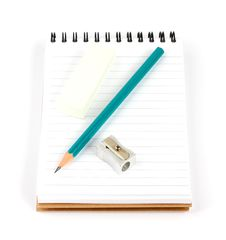 Free Notebook Pencil Sharpener Eraser Stock Photos - 18394583