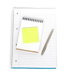 Notebook With Notepad And Sticky Note Stock Photography