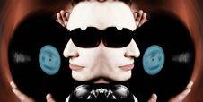 Disc Jockey Face With Sunglasses And Vinyl DJ Royalty Free Stock Image