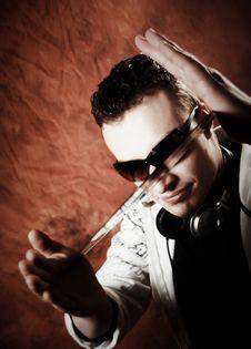 Disc Jockey With Sunglasses And Vinyl Royalty Free Stock Photos