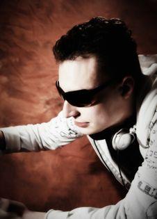 Disc Jockey With Sunglasses Royalty Free Stock Photography