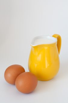 Pitcher Of Milk, Eggs And Flour Royalty Free Stock Photography