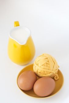 Pitcher Of Milk And Eggs Royalty Free Stock Images