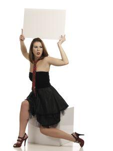 Free Girl Holding Blank White  Board Stock Photo - 18395610