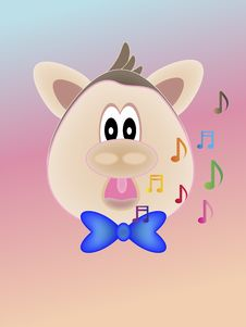 Free Cute Singing Fat Pink Pig Stock Photos - 18396053