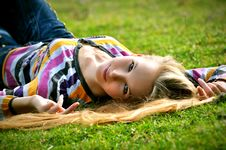 Free The Girl On A Grass Stock Photography - 18396322