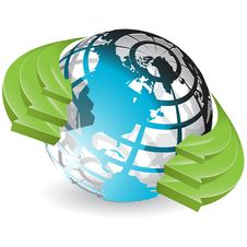 Free Globe And Green Arrows Stock Photos - 18396423
